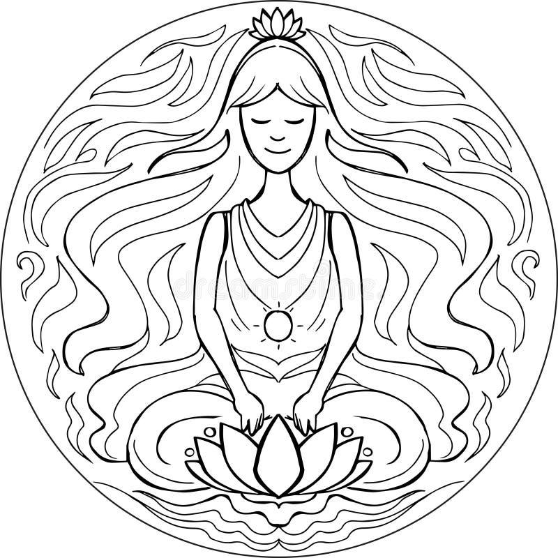 Kolorystyki pozy Lotosowy mandala royalty ilustracja