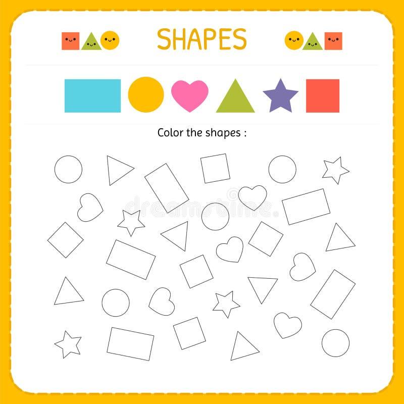 Kolorystyki wielokrotności kształty Uczy się kształty i geometryczne postacie Preschool lub dziecina worksheet dla ćwiczyć motoro ilustracja wektor