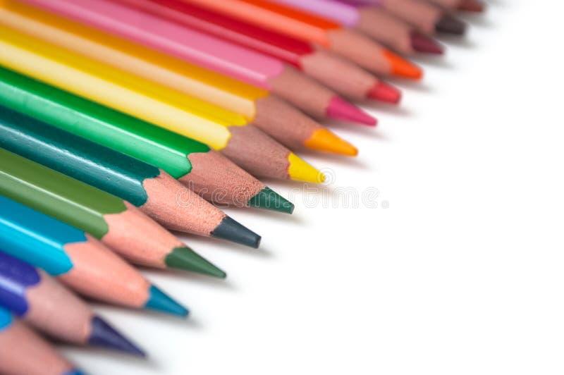 Koloryt ołówki ustawiający na białym tle zdjęcie stock