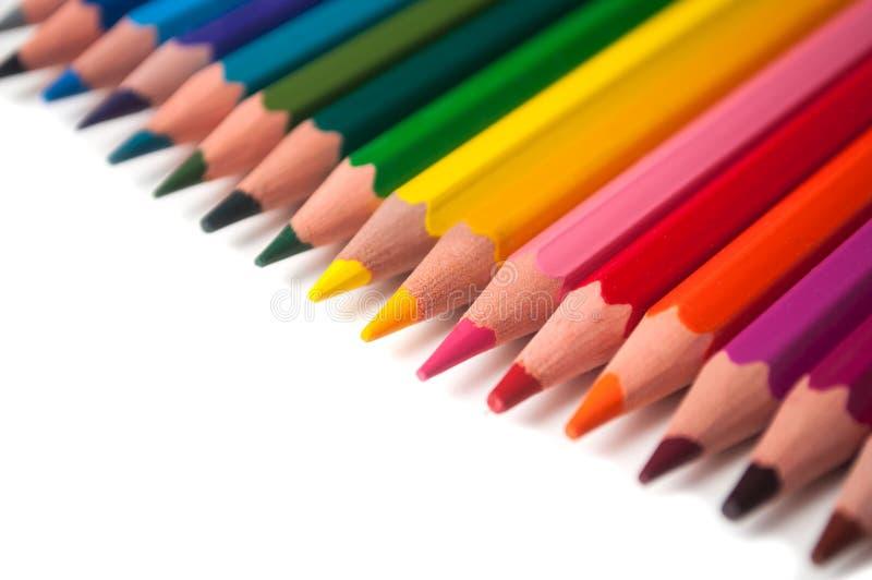 Koloryt ołówki ustawiający na białym tle fotografia royalty free