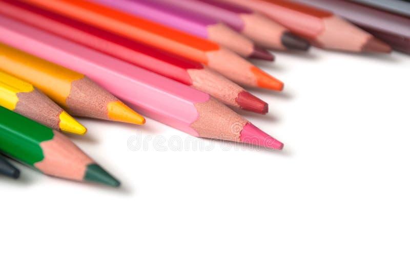 Koloryt ołówki ustawiający na białym tle obrazy stock