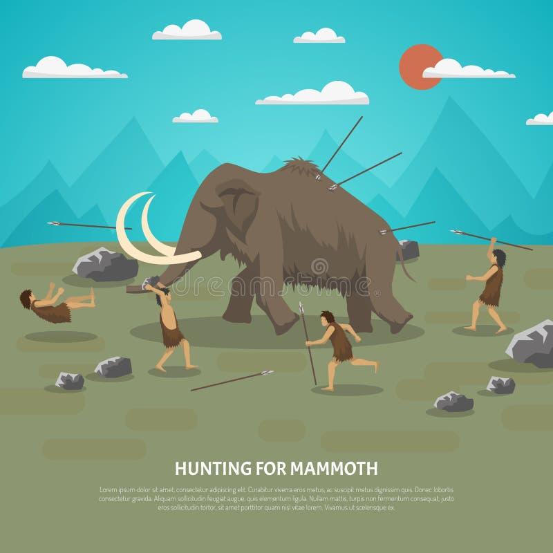 Kolossal jaktillustration stock illustrationer