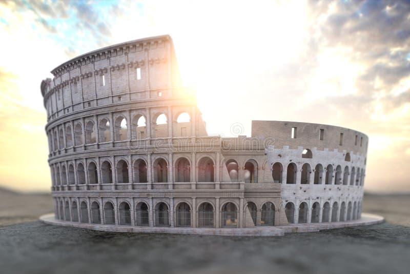 Kolosseum Colosseum przy wschód słońca Symbol Rzym i Włochy ilustracja wektor