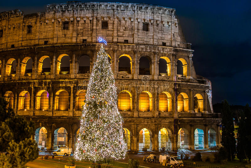 Kolosseum Rzym, Włochy na bożych narodzeniach zdjęcie stock