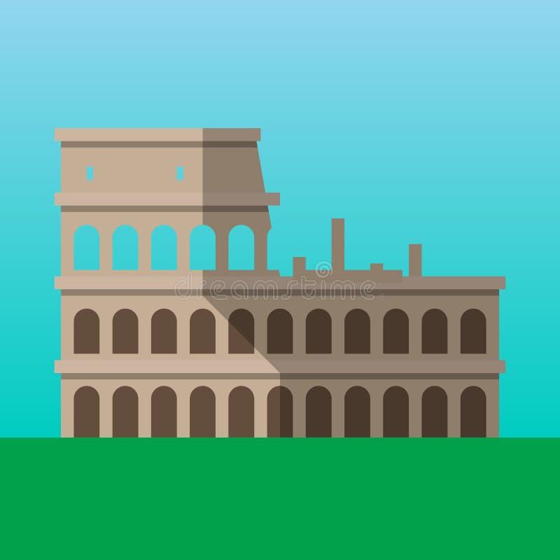 Kolosseum w Rzym, Włochy wektoru ilustracja Flavian amfiteatru mieszkania stylu ikona royalty ilustracja