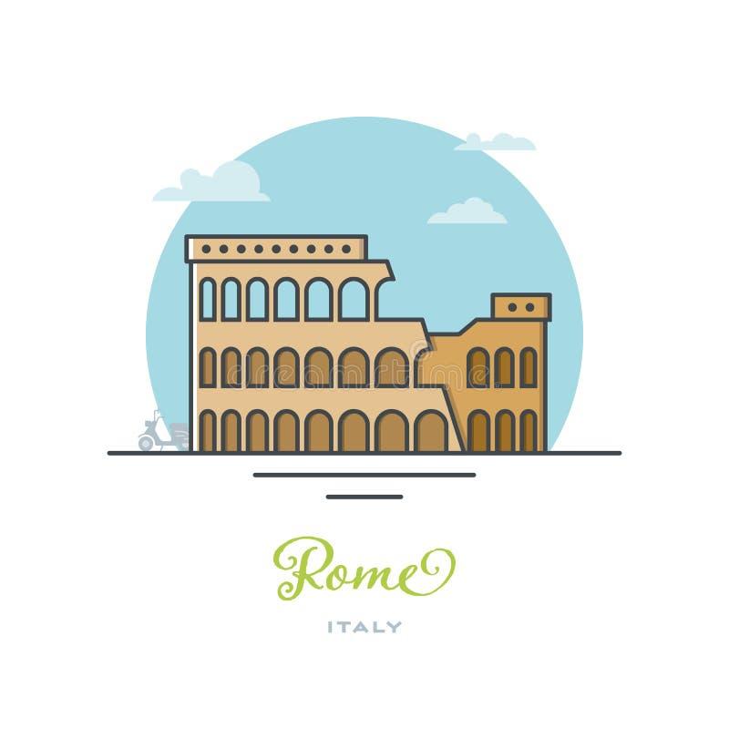 Kolosseumu amfiteatr przy Rzym, Włochy, płaska wektorowa ilustracja ilustracji