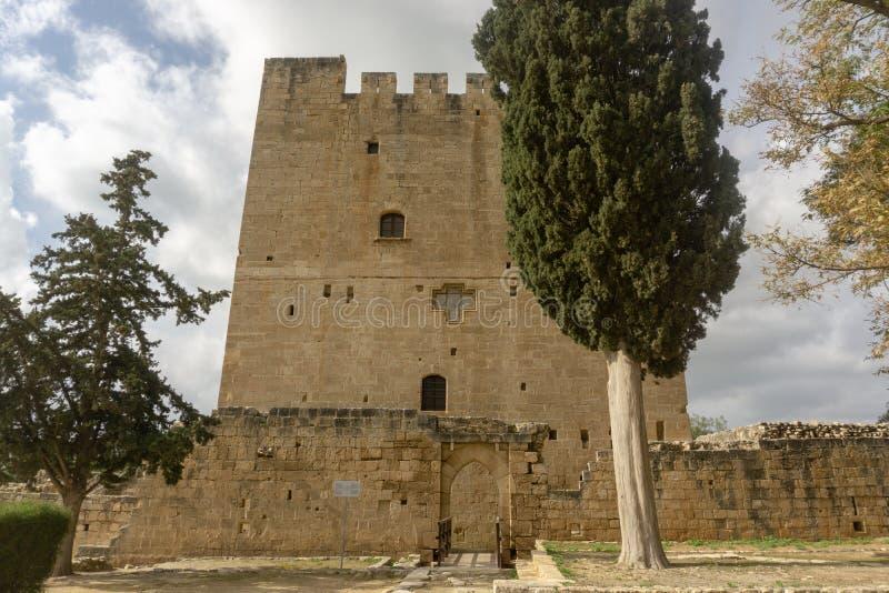 Kolossi Limassol/Cypern - Januari 2019: Den medeltida slotten av Kolossi nära Limassol i Cypern royaltyfria bilder