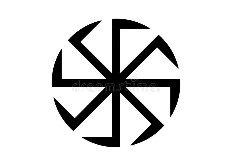 Kolovrat, a suástica ou o sauwastika são uma figura geométrica e um ícone religioso antigo nas culturas de Eurasia Isolado ilustração stock