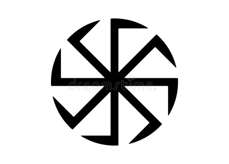 Kolovrat, the swastika or sauwastika is a geometrical figure and an ancient religious icon in the cultures of Eurasia. Isolated. Kolovrat, the swastika or stock illustration