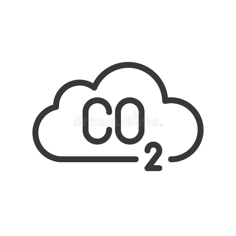 Koloxid på molnet, föroreningvektorsymbol stock illustrationer