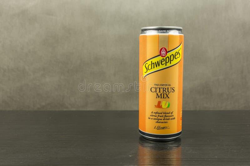 Kolsyrad läsk i en citrus blandninganstrykning - det Schweppes märket royaltyfria foton