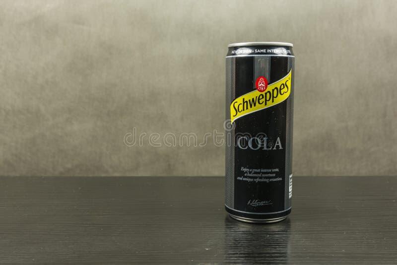 Kolsyrad läsk i en colaanstrykning - det Schweppes märket arkivfoto
