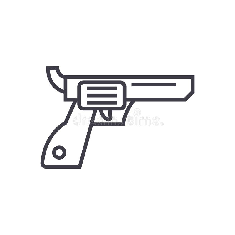 Kolt, pistolet, kowbojska wektor linii ikona, znak, ilustracja na tle, editable uderzenia ilustracji