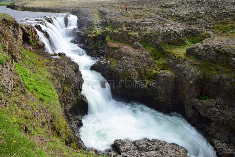 Kolufossar,瀑布在Kolugljufur峡谷的冰岛 长期风险 免版税库存图片