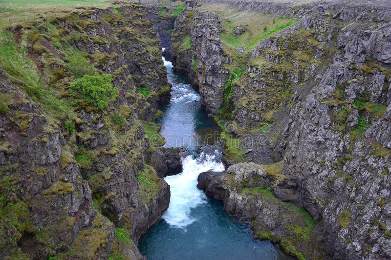 The Kolugljufur canyon in Iceland. The Kolugljufur canyon in the northwest of Iceland, which was dug by the female troll Kola according to the legend stock photos