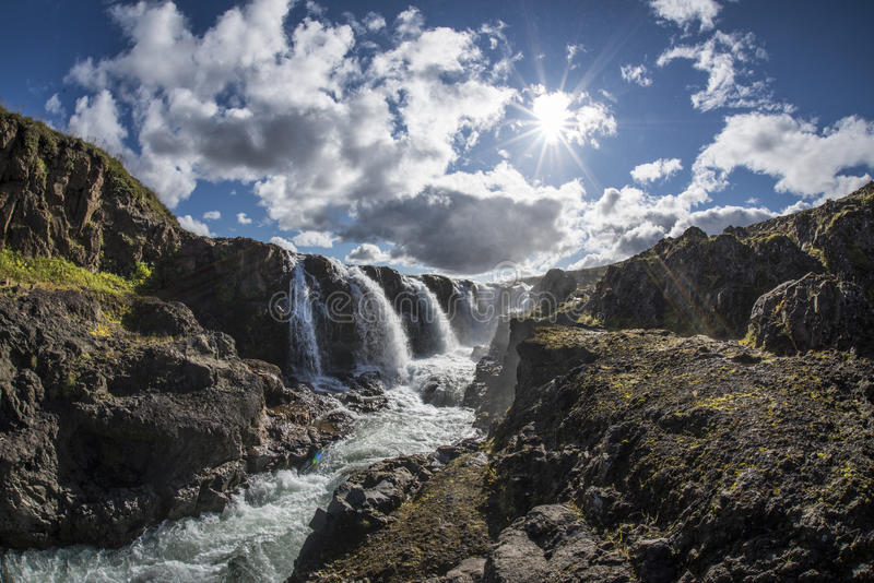 Kolugljufur canyon and waterfall at the north of Iceland royalty free stock photo