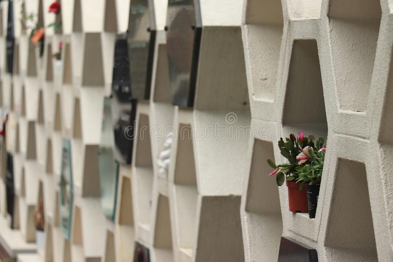 Kolumbarium ?cienny pobliski crematorium zdjęcie royalty free