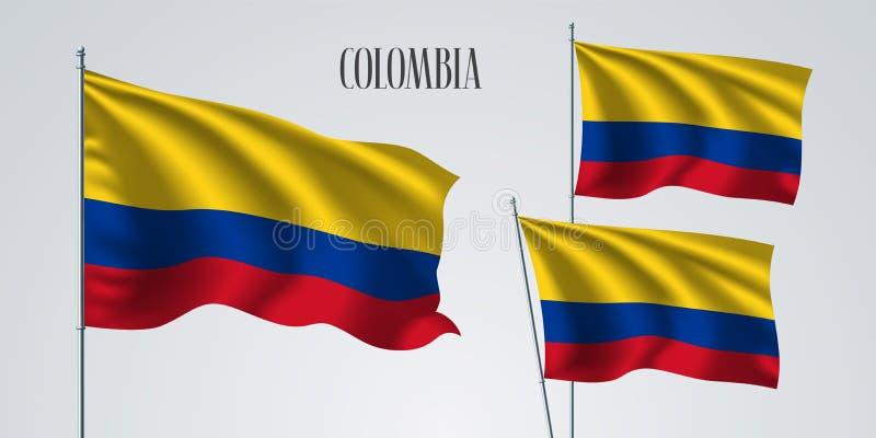 Kolumbia falowania flaga set wektorowa ilustracja ilustracja wektor