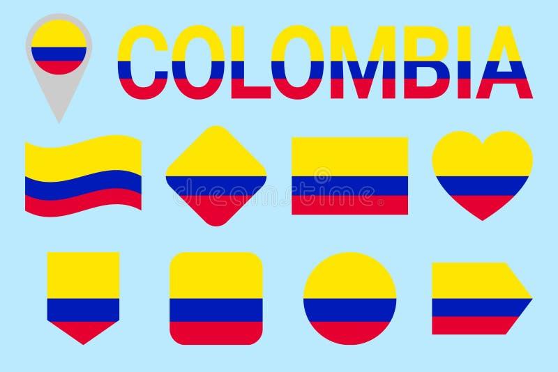 Kolumbia flaga wektoru set geometryczni kształty Mieszkanie styl Kolumbijscy natioanl symbole inkasowi sporty, obywatel, podróż, royalty ilustracja