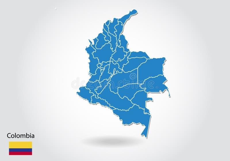 Kolumbia mapy projekt z 3D stylem Błękitna Colombia flaga państowowa i mapa Prosta wektorowa mapa z konturem, kształt, kontur, na ilustracja wektor