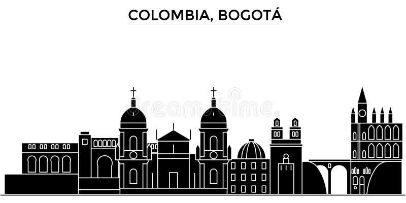 Kolumbia, Medellin architektury miasto wektorowa linia horyzontu, czarny pejzaż miejski z punktami zwrotnymi, odosobneni widoki n royalty ilustracja
