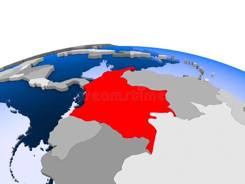 Kolumbia na politycznej kuli ziemskiej ilustracja wektor