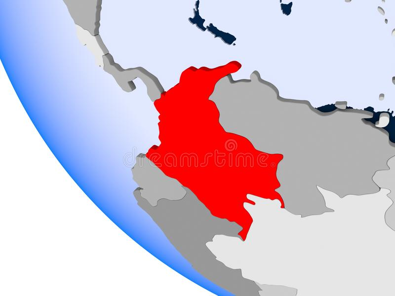 Kolumbia na politycznej kuli ziemskiej ilustracji