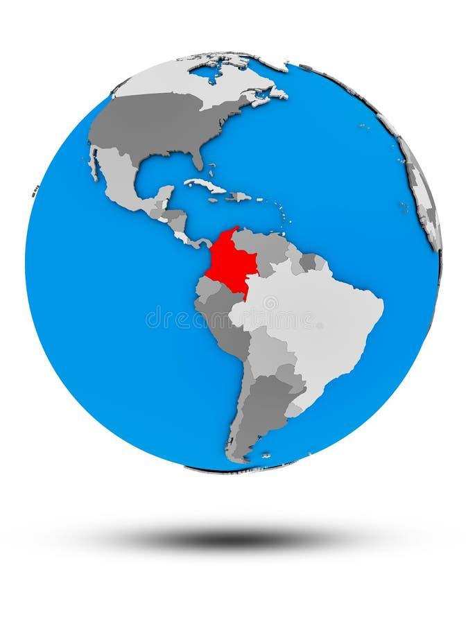 Kolumbia na politycznej kuli ziemskiej odizolowywającej royalty ilustracja
