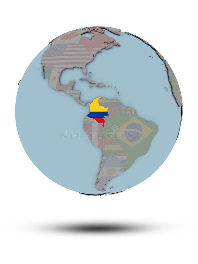Kolumbia na politycznej kuli ziemskiej odizolowywającej ilustracja wektor
