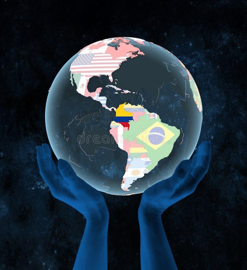 Kolumbia na politycznej kuli ziemskiej w rękach ilustracji