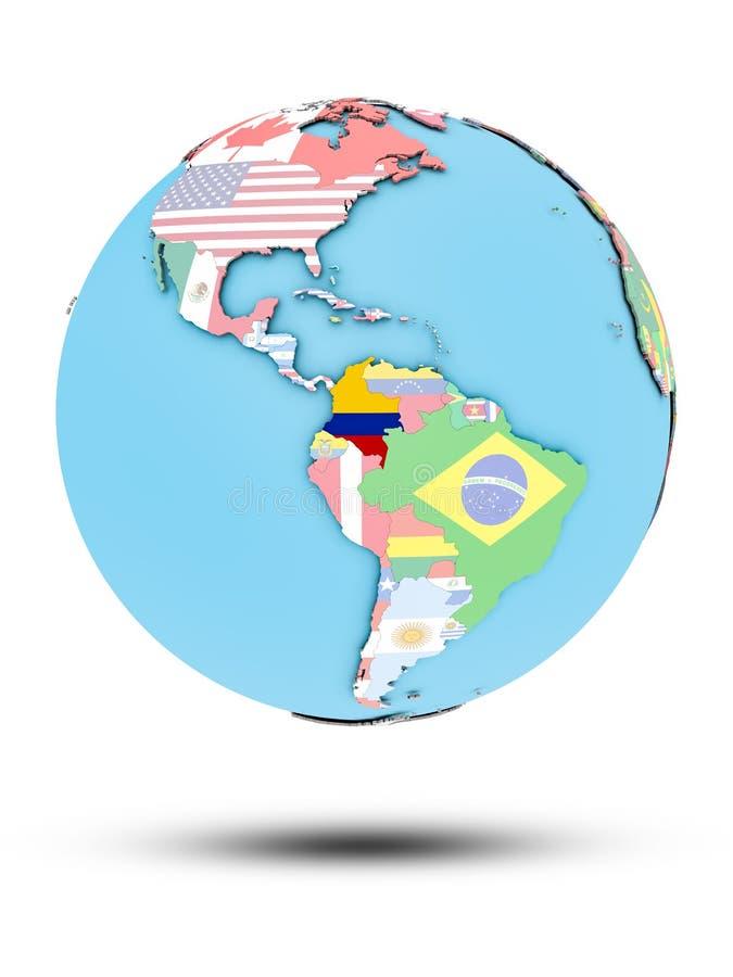 Kolumbia na politycznej kuli ziemskiej z flaga ilustracja wektor