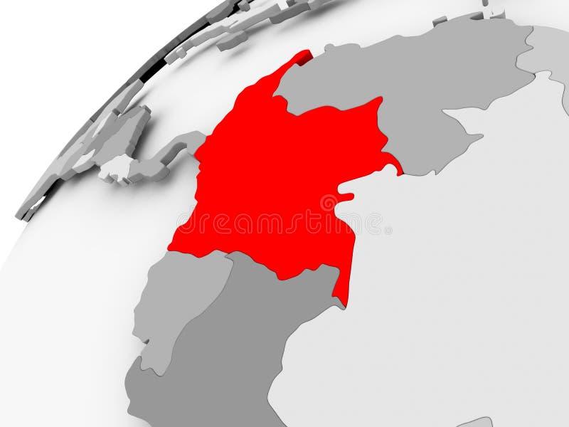 Kolumbia na popielatej politycznej kuli ziemskiej royalty ilustracja