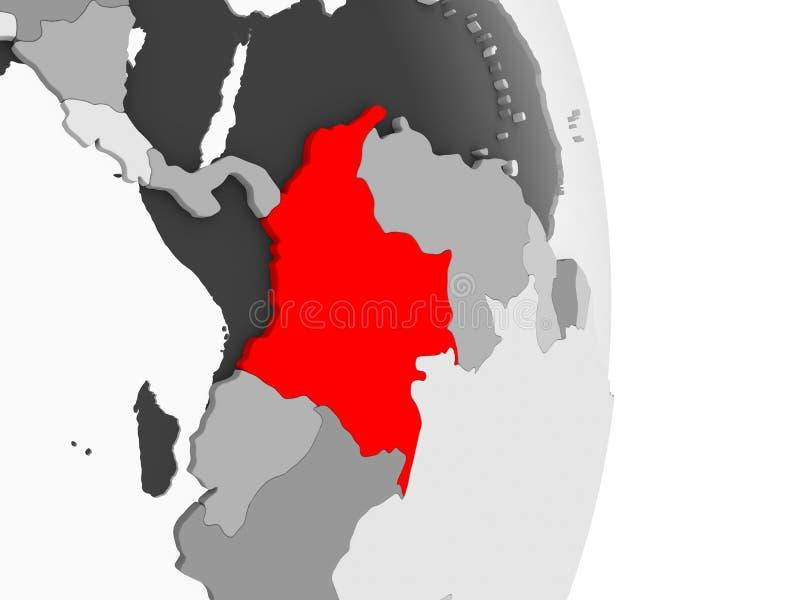 Kolumbia na popielatej politycznej kuli ziemskiej ilustracja wektor