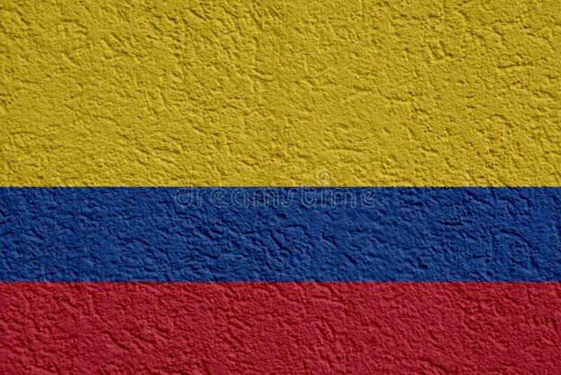 Kolumbia polityka Lub biznesu pojęcie: Kolumbijska flagi ściana Z tynkiem, tekstura fotografia royalty free