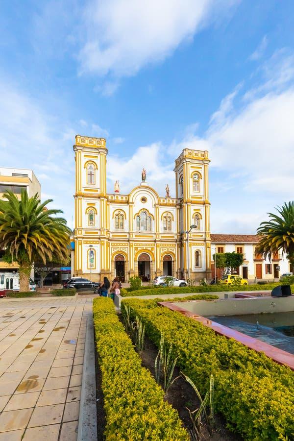 Kolumbia Sogamoso Saint Martin wycieczki turysyczne katedralne przy zmierzchem obraz royalty free