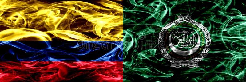 Kolumbia vs Arabskiego ligi dymu flaga umieszczająca strona strona - obok - Gęste barwione silky dymne flagi Kolumbijski i Arabsk royalty ilustracja