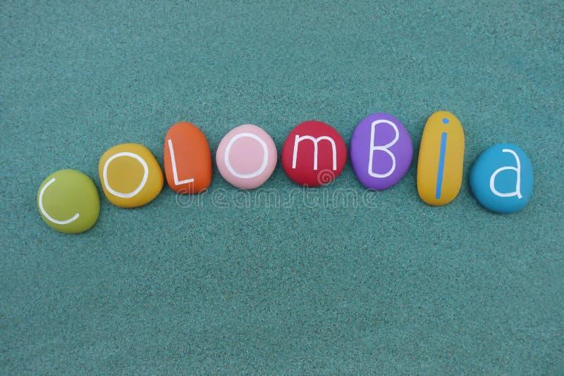 Kolumbia w mój sercu, pamiątka południe - amerykański kraj z colore kamieniami nad zielonym piaskiem royalty ilustracja