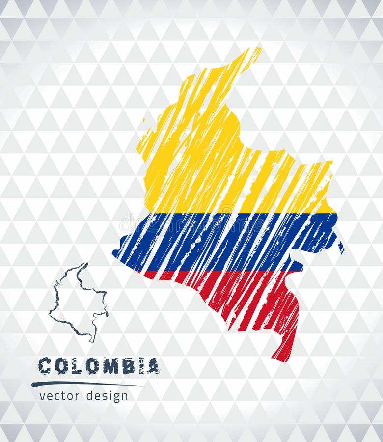 Kolumbia wektorowa mapa z flaga inside odizolowywającym na białym tle Nakreślenie kredy ręka rysująca ilustracja ilustracja wektor