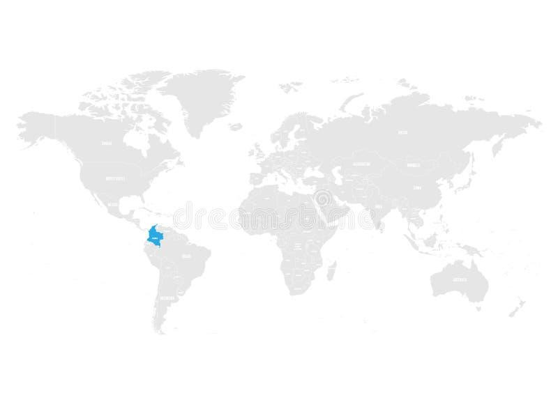 Kolumbia zaznaczał błękitem w popielatej Światowej politycznej mapie również zwrócić corel ilustracji wektora royalty ilustracja