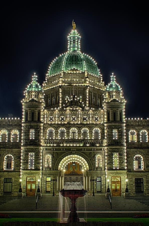 Kolumbiego Brytyjska parlament Przy nocą zdjęcie stock