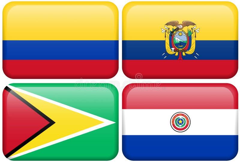 Kolumbien, Ecuador, Guyana, Paraguay vektor abbildung