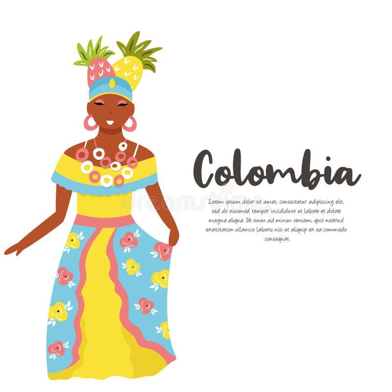 Kolumbijska kobieta w tradycyjnym kostiumu z owoc ilustracji