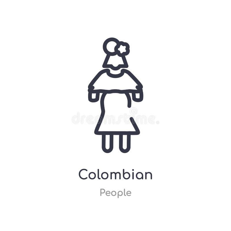 kolumbijska kontur ikona odosobniona kreskowa wektorowa ilustracja od ludzi inkasowych editable cienieje uderzenie kolumbijską ik ilustracji