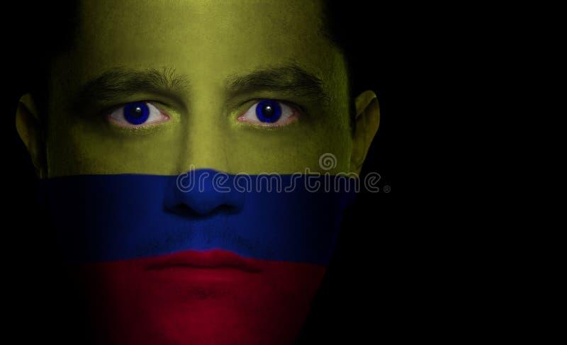 kolumbijska twarzy dolców flagę obrazy royalty free