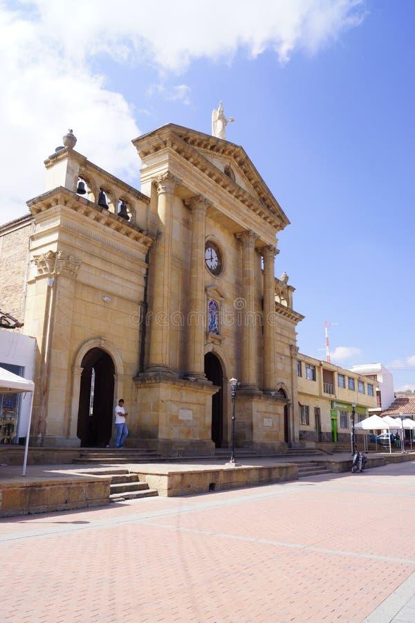 Kolumbijski kościół w Willi De Leyva Kolonisty styl obraz royalty free