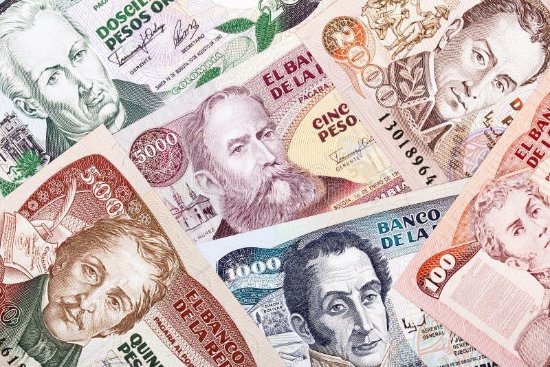 Kolumbijski pieniądze, tło zdjęcia royalty free