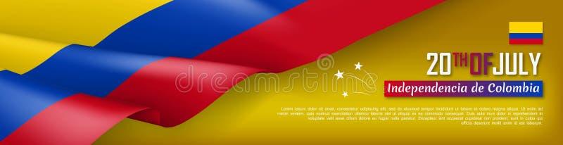 Kolumbijskiego dnia niepodległości sieci horyzontalny sztandar royalty ilustracja