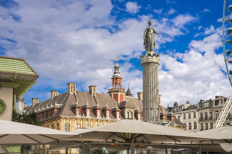 Kolumna bogini, Grand†² miejsce, Lille, Francja obrazy royalty free