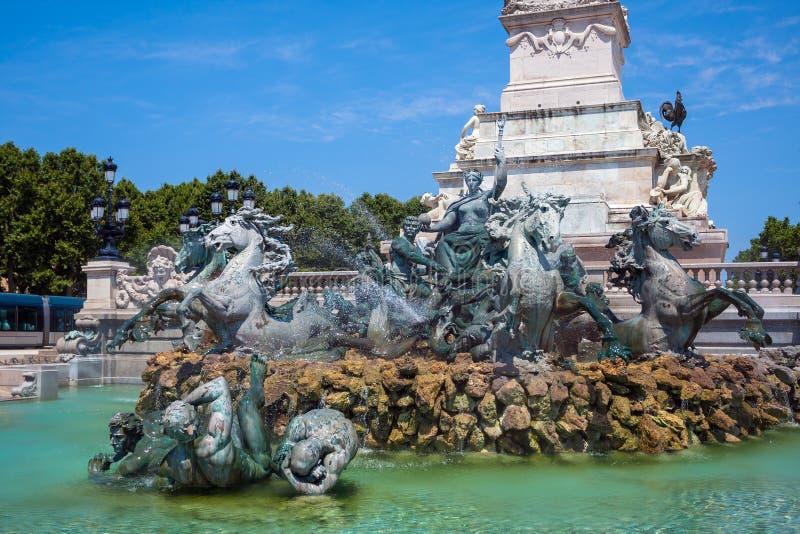 Kolumna Girondins pomnik w bordach, Francja zdjęcia stock
