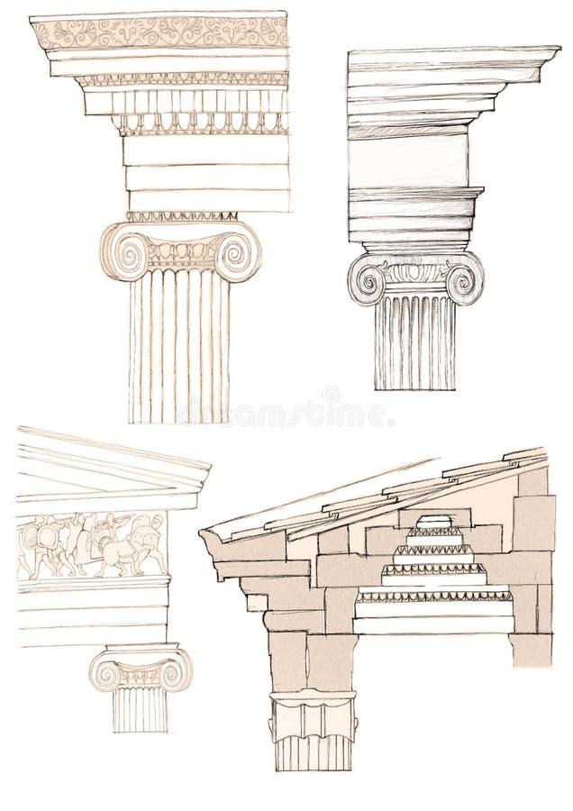 kolumna jonowych ilustracji